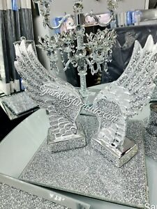 SILVER CRUSHED DIAMOND SPARKLY ANGEL WINGS ORNAMENT BLING GIFT✨