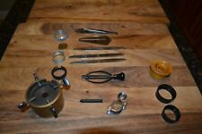 VINTAGE ACCUTRON 214 + 218 JEWELERS WATCH BENCH MOVEMENT HOLDER AND OTHER TOOLS