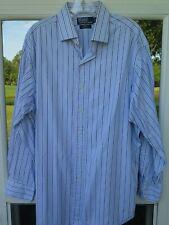 Polo Ralph Lauren Cotton Blue Striped Classic Fit Regent Dress Shirt 17x32/33 XL