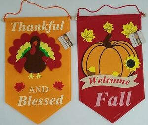 """Fall Harvest Thanksgiving Wall Banner Decorations 15"""" x 9"""",   Select: Theme"""