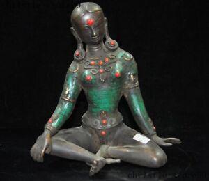 Tibet Buddhism bronze turquoise Inlay gem Tara Kwan-Yin GuanYin goddess statue