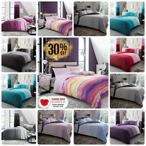DUVET COVER SET Reversible Soft Bedding Quilt with Pillowcase SINGLE DOUBLE KING