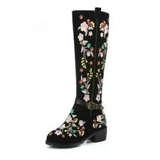 Ethnic Embroidered Floral Women Riding Leather Knight Mid Calf Motorcycle Boots
