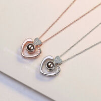 100 Languages Light Projection I Love You 925 Sterling Silver Pendant Necklace