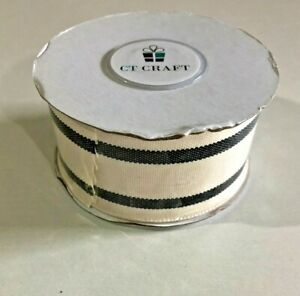 "CT Craft - Natural Cotton Stripes RIBBON - 15""x10 Yard - IVORY/BLACK - NEW"