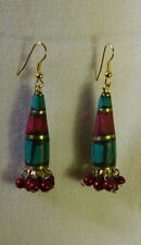 Tibetan Earrings - Boho/Hippy/Ethnic Style. [Brass,Turquoise, Cone Shape]
