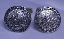 Signed Tencha Greek Key Border Vtg Mexican Sterling Silver Engraved Cufflinks