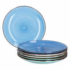 6-tlg. Speisetellerset Blue Baita Essteller blaue Strudel-Dekore Servierplatten