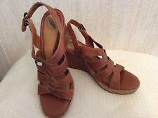 Nurture Grenada Braided Wedge Heel Sandals Size 10 Tan