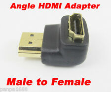 """100pcs 19pin HDMI Male to Female """"L"""" Shape 90D Gold Plated Adapter Converter UK"""
