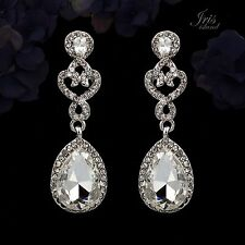 Rhodium Plated Clear Crystal Rhinestone Wedding Bridal Drop Dangle Earrings 0020