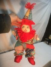 Vintage Plush Hand Made Sock Clown Doll Witch 16in