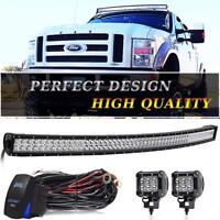"""54""""inch Curved LED Light Bar Windshield Roof For Chevy/GMC Silverado Truck"""