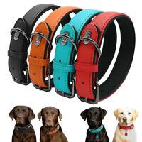 Soft Leather Pet Dog Collars Neoprene Padded Small Medium Large Red Black Brown