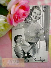 Vintage 1950s Knitting Pattern Lady's Evening Scalloped Lace Look Jumper & Stole