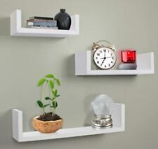 Set of 3 U Shape Floating Wall Shelves Shelf Storage Display White