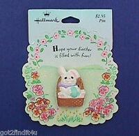 Hallmark PIN Easter Vintage BUNNY RABBIT EGG BASKET White Holiday NEW