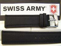 Swiss Army Watch Band Infantry 22mm Black Nylon Mesh Capped Leather Strap