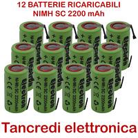 12pz BATTERIA RICARICABILE NI-MH SC 1,2V 2200mAh CON LAMELLE A SALDARE 2000mAh