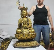 "35"" Tibet Buddhism temple Fane Old Copper Bronze Di Zang Jizo King Buddha Statue"