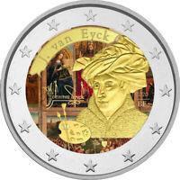 2 Euro Gedenkmünze Belgien 2020 coloriert / Farbe Farbmünze J Van Eyck 2  w