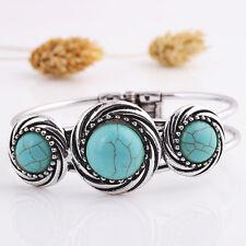 Charm Fashion Women Natural Turquoise Cuff Wristband Bangle Bracelet Jewelry AB