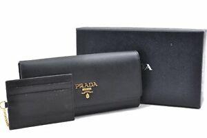 Authentic PRADA Leather Long Wallet Black Box D8827