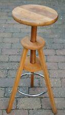 Runder Drehhocker Barhocker ~ 66-82cm ~ Hartholz / Eiche - geölt ~ Aufgearbeitet