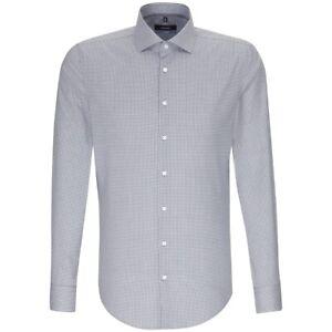Seidensticker Langarm Hemd Tailored Kent grau weiß Kariert Gr. 39 / 232567.33
