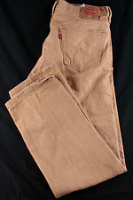 Men's LEVIS 501 36x32 STRAIGHT Fit Button RARE Tan / Brown JEANS