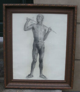 African warrior. Academy male nude. New York 1926.  Rare !
