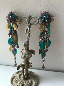COLLEEN TOLAND duster earrings turquoise 1990s Clip-On Earrings, signed