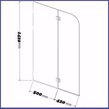1420mm high x 920mm wide Frameless Bath Screen