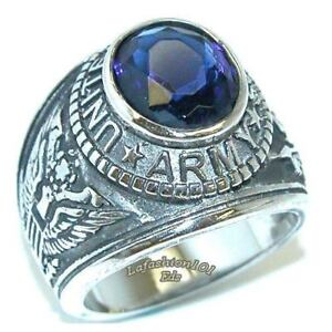316 Stainless Steel Wide Band Mens Blue Sapphire CZ ARMY military Ring SIZE 11