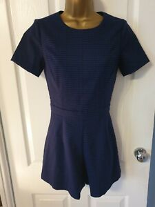 New Look Navy Checked Playsuit Size 6 lined 30inch bust VGC
