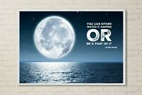 """Elon Musk Motivation Quote Moon Space Wall Art Decor Gift 36"""" x 24"""" LARGE POSTER"""