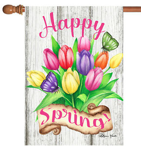 Toland Spring Tulips 28 x 40 Colorful Tulip Flower Double Sided House Flag