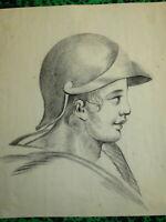 Ecole FRANCAISE XIX DESSIN PIERRE NOIRE PROFIL JEUNE HOMME ROME ANTIQUE 1800