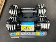 PROFORM SpaceSaver Adjustable 25 Lb Set Dumbbells Weights Pair with Storage Tray