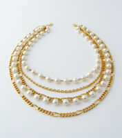 Vintage Multi-Strand Faux Pearl Chain Necklace … 5-Strand Necklace, Gold Tone
