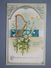 R&L Postcard: Beautiful, Greetings Easter Flowers, Harp, Max Ettlinger