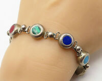 MEXICO 925 Sterling Silver - Vintage Multi-Stone Colorful Chain Bracelet - B4168