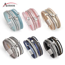 Fashion Women Leather Rhinestone Resin Magnet Wrap Cuff Charm Bracelet Jewelry