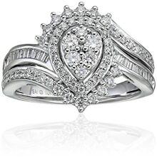 New Sz7 10K 3/4ct Real Diamond Halo Bridal Engagement Wedding Ring White Gold