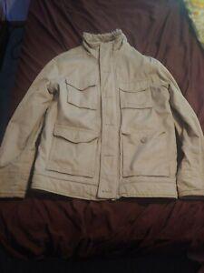 Mens Kirra Corduroy Sherpa Faux Fur Lined Winter Coat Jacket Size L