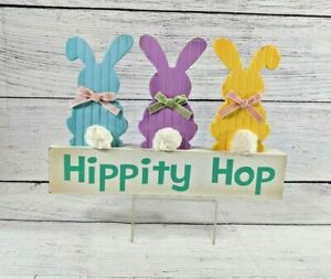 Hippity Hop Multi-Colored Bunny Wood Sign Easter Décor Free Standing