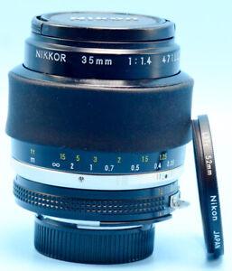 Nikon NIKKOR 35mm f/1.4 Ai-S Lens Exc++++W/Caps & Nikon L37c filter