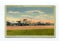 Postcard - Chicago Illinois Municipal Airport 1942 Tichnor Bros Linen card