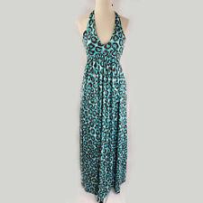 Diane Von Furstenberg blue brown halter maxi, 4 S