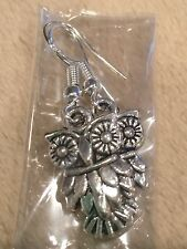 Cute New Silver Ear Wire / Tibetan Silver Owl Charm Dangle Drop Earrings